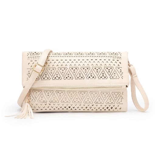 Vikson Lasercut Clutch Cream