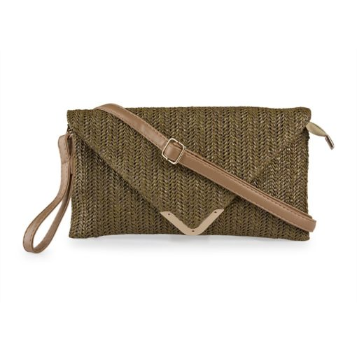 Vikson Raffia Clutch Brown