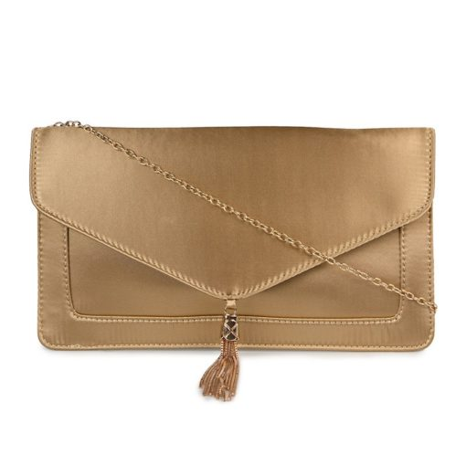 Vikson Satin Envelope Clutch Gold